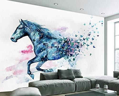 3D vliesbehang fotovlies premium fotobehang handgeschilderd aquarel paard muurschildering behang foto 3 D woonkamer slaapkamer tv wandbehang 200*140 200 x 140 cm.