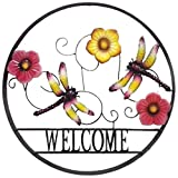 BACKYARD EXPRESSIONS PATIO · HOME · GARDEN 906676 Decorative Outdoor Dragonfly and Flower Welcome Wheel Art Wall Sign