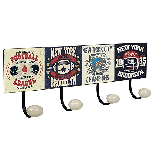 POMOLINE Percha Pared Vintage 4 Ganchos Porcelana Football Retro 400x155MM