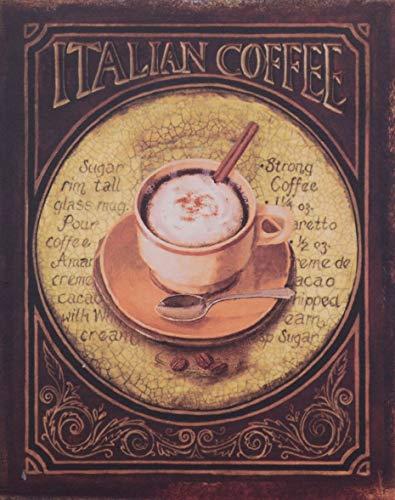 Casa Padrino Deko Zinn Schild/Blechschild Itallian Coffee Mehrfarbig 20 x H. 25 cm - Vintage Retro...