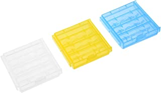 uxcell® 3pcs AAA/AA 4 Cell Batteries Holder Portable Battery Storage Case Protective Container Clear/Yellow/Blue