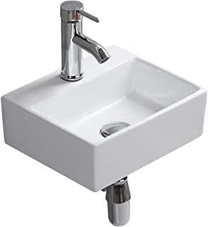 Wall Mounted Bathroom Basin Sink Vessel Vanity Square White Ceramic for Toilet Lavatory Kitchen Cloakroom Modern Corner Countertop Art Washbasin without Overflow Hole (8046)