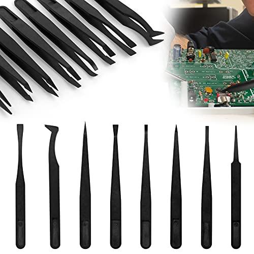 8 piezas Juego de pinzas de plástico,Pinzas antiestáticas Pinzas de precisión para reparación de electrónica,Soldadura,Elaboración y Producir joyería
