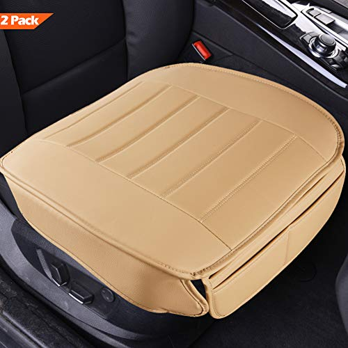 Car Seat Covers 2 Pack, Edge Wrapping Car Front Seat Covers Pad Mat for Auto Supplies Office Chair with PU Leather (Beige)