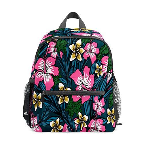 Mochila para niños preescolar, bolsa de escuela, para niños y niñas, ligera, para 1 a 6 años de edad, mochila perfecta para niños pequeños a jardín de infancia con flores polinesias