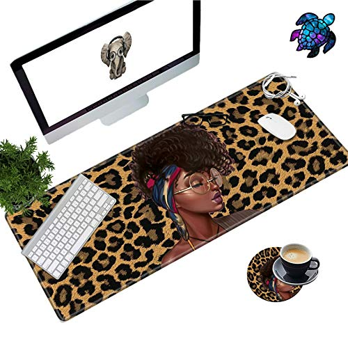 Desk Pad Mat Large Mouse Pad XL Extended Mousepad Gaming with Leopard African Woman 31.5' 11.8' Huge Mouse Pads for Computer Laptop Home Office + Cup Coaster and Cute Stickers