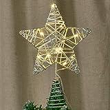 YQing 20.8cm Estrella Arbol Navidad, LED Estrella de Navidad Decoración Estrella de Punta de Árbol Ornamento del arbol Navidad para árbol de Navidad o Decoración del Hogar, Plateado
