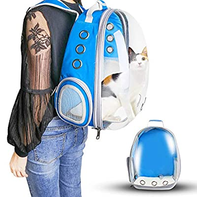 WANTKA Pet Carrier Backpack, Bubble Backpack Carrier, Cats and Small Dog Puppies,Airline-Approved, Designed for Travel Hiking WalkingOutdoor Use,Waterproof Pet Backpack (Blue)