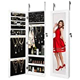 Ezigoo Jewellery Cabinet with Mirror - Door Hanging or Wall Mounted Jewellery Armoire