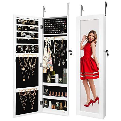 Ezigoo Jewellery Cabinet with Mirror - Door Hanging or Wall Mounted Jewellery Armoire