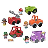 Fisher-Price Little People Around The Neighborhood Vehicle Pack, Set of 5 Push-Along Vehicles and 5 Figures for Toddlers [Amazon Exclusive]