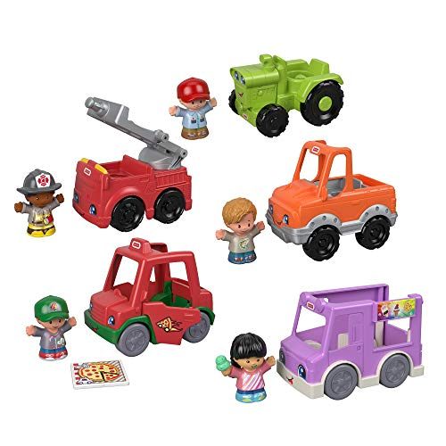 Fisher-Price Little People Around the Neighborhood Vehicle Pack  set of 5 push-along vehicles and 5 figures for toddlers [Amazon Exclusive]