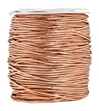 Mandala Crafts Metallic Cord Tinsel String Rope for Ornament Hanging, Decorating, Gift Wrapping, Crafting (Elastic 1.5mm 109 Yards, Rose Gold)