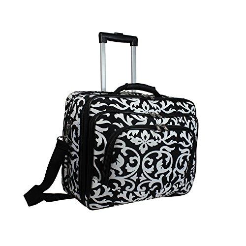 World Traveler Rolling 17-inch Laptop Case, Black Trim Damask