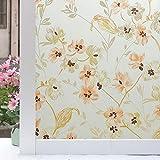 LMKJ Revestimiento de Ventana Decorativo Autoadhesivo Pet Flor marrón decoración de privacidad privada decoración del hogar película A107 40x200cm
