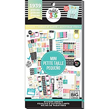 me & my BIG ideas Sticker Value Pack for Mini Planner - The Happy Planner Scrapbooking Supplies - Fitness Theme - Multi-Color & Gold Foil - Great for Projects & Albums - 30 Sheets 1939 Stickers