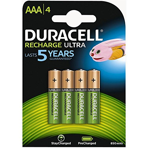 Duracell AAA HR03 Duralock Pre and Stay Charged Rechargeable NiMH Batteries 850mAh - 4 Pack