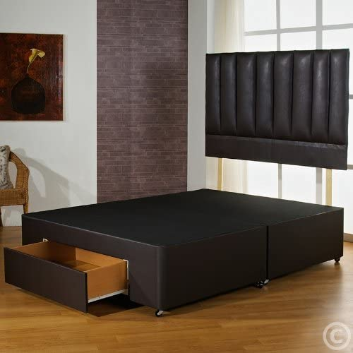 Hf4You 4Ft6 Double Brown Faux Leather Divan Bed Base With 4 Drawers by Hf4you