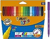 BIC Kids Ecriture Visa Feutres de Coloriage à Pointe Fine - Encre A Base D'eau - Couleurs Assorties, Etui Carton de 18