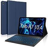 IVEOPPE Funda con Teclado para Samsung Galaxy Tab A7 2020 10.4'', Teclado Bluetooth 7 Colores Retroiluminada Español Ñ para Samsung Galaxy Tab A7 T505/T500/T507 - Azul Oscuro