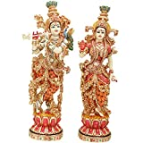 Radha Krishna Statue 15 inches Marble Radha Krishna Idol Divine Couple Statue Large Radha Krishna Figurine Handpainted Radha Krishna Murti Special Wedding Housewarming Sculpture