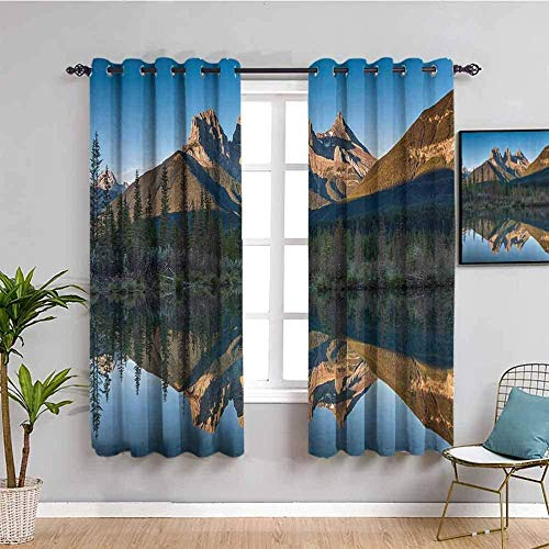 LTHCELE Blackout Curtains for Bedroom - Blue mountain lake landscape - 3D Print Pattern Eyelet Thermal Insulated - 86 x 85 inch - 90% Blackout Curtains for Kids Boys Girls Playroom