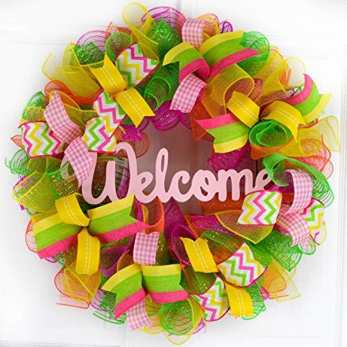 Spring Decor Wreath - Summer Door Decoration - Welcome Deco Mesh Wreath - Pink Lime Green Yellow