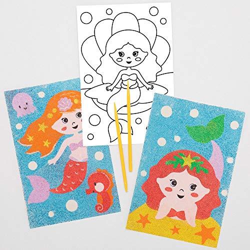 Baker Ross AT688 Zeemeermin Afbeeldingen met Zand Kunst (8 stuks) Knutselspullen en Knutselsets voor Kinderen