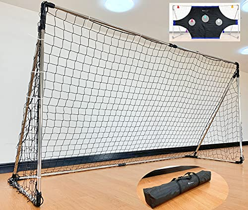 Marfula Sports Competition Soccer Goal - Stainless Steel Soccer Goal with All Weathered Net/Target Sheet/Colored Markers/Carry Bag/Ground Stakes - 12' x 6' Soccer Goal Outdoor & Indoor