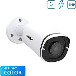 Cámara de seguridad H.VIEW IP Camera 3MP visión nocturna en color 4 mm Super HD POE Cámara para exteriores Audio H.265 Detección de movimiento IR inteligente Instalación fácil