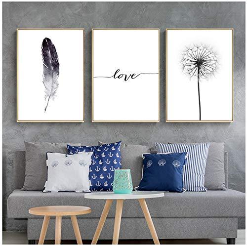 xwlljkcz 3 Stück Schwarz und Weiß Löwenzahn Federn Poster und Druck Brief Liebe Wandkunst Bild Leinwand Malerei Home Wall Decor 40x60 cm Kein Rahmen
