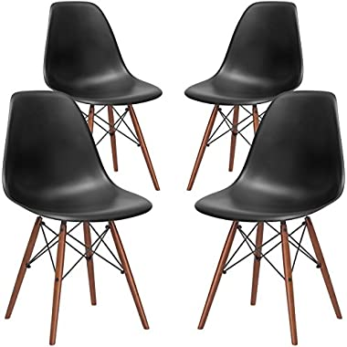 Poly and Bark Vortex Modern Mid-Century Side Chair with Wooden Walnut Legs for Kitchen, Living Room and Dining Room, Black (Set of 4)