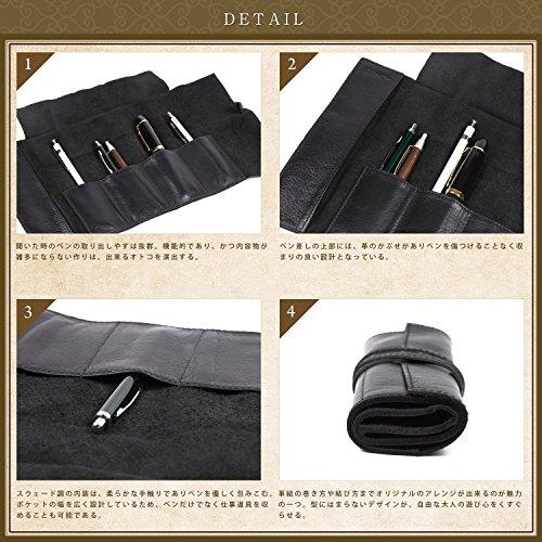 (ラファエロ)Raffaello一流の革職人が作る上質なオイルドレザーを使用したロールペンケース牛革本革筆箱ペンケース(ロイヤルブラック)