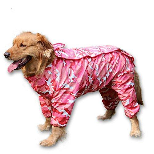 BBEART Dog Raincoat, Fashion Four-Legged Hooded Pet Raincoat Rain Jacket Jumpsuit Rain Poncho Coat Slicker Camouflage Long Sleeves Rainproof Clothes for Small Medium Large Dogs Cool (28, Pink)