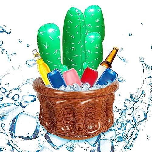 Hidyliu Aufblasbarer Eiskübel Schwimmbad Aufblasbarer Kaktus Bier Eimer Outdoor Getränkekühler Whirlpool Getränkehalter PVC Aufblasbarer Bierkühler für Sommer Strand Hawaiin Motto Party Dekorationen
