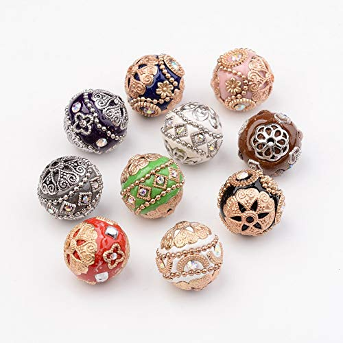Beadthoven 10-Piece 19-20mm Handmade Rhinestone Indonesia Beads with Brass Cores Assorted Round Colorful Vintage Style Beading Findings for Jewelry Making