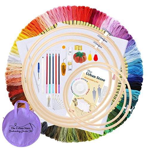 The Urban Store Kit de bordado de 207 piezas, hilos de bordado de 100 colores, 5 aros de bambú para bordar, 3 piezas de tela de punto de cruz, kit de herramientas para adultos y niños.