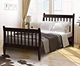 Rhomtree Twin Size Wood Platform Bed Frame Kids Bed Single Bed with Headboard and Wood Slat Support Mattress Foundation No Box Spring Needed (Espresso)