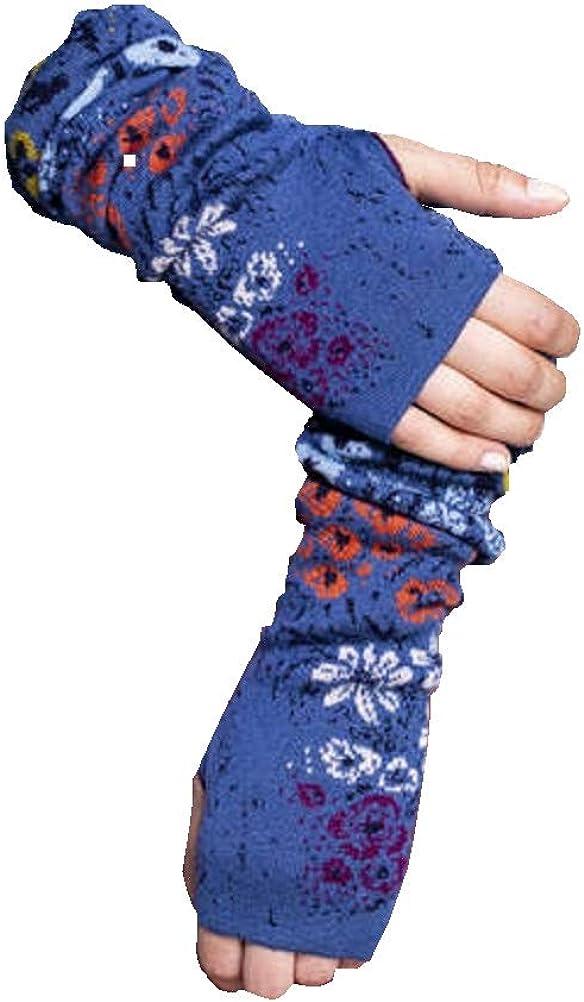 IVKO Floral Pattern Wrist Warmers in Stone Blue Knit Fine Merino Wool Gloves Pullwarmers