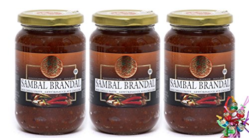 [ 3x 200g ] KONINGSVOGEL Sambal Brandal / Sehr scharfe Sauce + ein kleines Glückspüppchen - Holzpüppchen