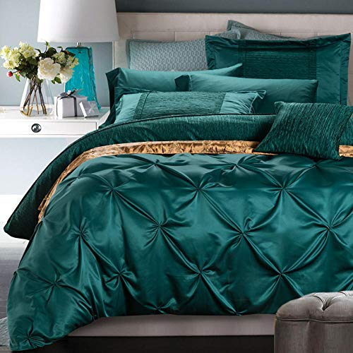 geek cook Bedding Set,Cotton green four-piece bedding cotton satin washed silk cotton wedding quilt cover dark green bedding-I_1.5m (5 feet) bed