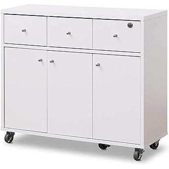 moca company SIMPLE キッチンカウンター 間仕切り 食器棚 キャスター 鍵 付き 幅80 ホワイト MC-FR001SP-WH