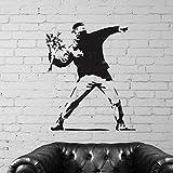 Banksy Blumen Werfer Replik Schablone | Wiederverwendbar & Kunst Handwerk Malerei Schablone - halb geschliffen Durchsichtig Schablone, S/ 17x19.5cm