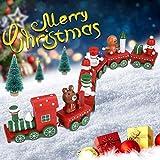 PERFETSELL Tren de Madera Navideño Tren de Navidad de Juguete Trenecito Navidad Tren Adorno Navidad Decoración para Regalo de Niños y Arbol de Navidad (30 de Largo, 4.5 de Alto, 7 mini Tren)