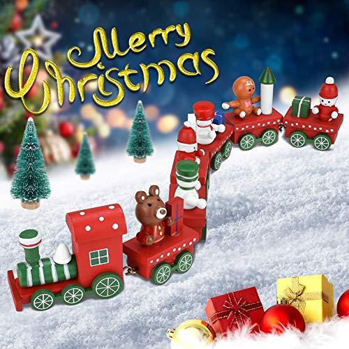 PERFETSELL 7 Pezzi Trenino Legno Natalizio Trenino di Legno per Bambini Treno di Natale in Legno per Albero di Natale Con Mini Figure Di Babbo Natale Regalo per Bambini
