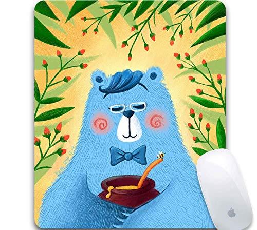 Gaming-Mauspad, Exquisite Pflanzenblumen, Honig Und Blauer Bär, Strapazierfähiges Gummi, Gaming-Mauspad Für Büro-Laptops