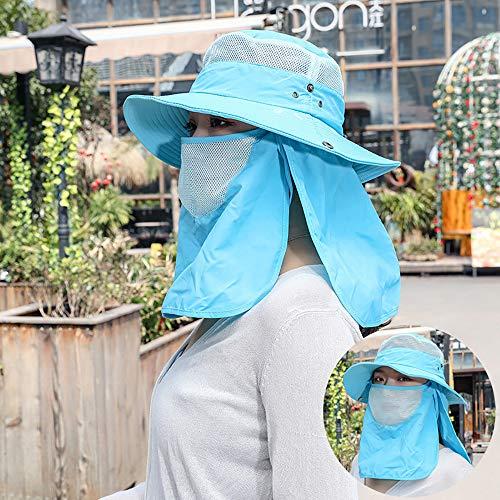 Cappello da Sole All'aperto, Zanzare Rimovibile Pesca Cappello Impermeabile Ad Asciugatura Rapida, Cappello da Sole degli Uomini di Estate Che Copre Il Viso, Tappo Traspirante Flip,Blu