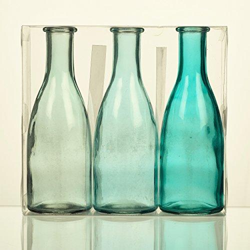 Unbekannt Sandra Rich. Glas VASE Bottle groß. 3 kleine Flaschen ca 18,5 x 6,5 cm. Türkis - BLAU. 1165-18-87