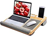 Lap Desk - Fits up to 17 inches Laptop Desk, Built in Mouse Pad & Wrist Pad for Notebook, MacBook, Tablet, Laptop Stand with Tablet, Pen & Phone Holder (Wood Grain) (Office Product)