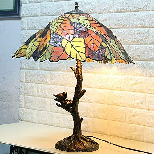 L.W.S Lámpara de Escritorio Lámpara e27 Resina Estilo Europeo Dormitorio Sala de Estar lámpara Creativa Hojas jardín protección de Ojo lámpara de Mesa